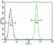 IGF1 antibody flow cytometric analysis of A549 cells (green) compared to a negative control cell (blue). FITC-conjugated goat-anti-rabbit secondary Ab was used for the analysis.