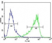 HIF1A antibody flow cytometric analysis of NIH3T3 cells (right histogram) compared to a negative control cell (left histogram). FITC-conjugated goat-anti-rabbit secondary Ab was used for the analysis.