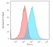 Flow cytometry testing of PFA-fixed human HepG2 cells with gp96 antibody (clone SPM249); Red=isotype control, Blue= gp96 antibody.