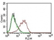 Flow cytometry testing of human MCF-7 cells with EpCAM antibody; Black=cells alone, Green=isotype control, Red= EpCAM antibody.