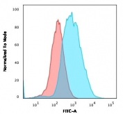 Flow cytometry testing of PFA-fixed human MCF7 cells with anti-EpCAM antibody (clone EGP40/1372); Red=isotype control, Blue= anti-EpCAM antibody.