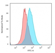 Flow cytometry testing of human Jurkat cells with CD1a antibody (clone SPM120); Red=isotype control, Blue= CD40 antibody.