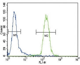 CD4 antibody flow cytometric analysis of CEM cells (right histogram) compared to a negative control cell (left histogram). FITC-conjugated goat-anti-rabbit secondary Ab was used for the analysis.