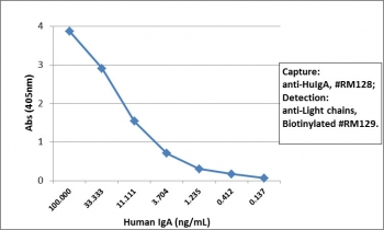 Sandwich ELISA of human IgA using the recombinant Human IgA antibody as the capture (100ng/well), and <a href=../tds/recombinant-human-ig-light-chains-antibody-rabbit-monoclonal-r20180btn>biotinylated anti-human light chains (κ+λ) antibody</a>, clone RM129, as the detect, followed by an alkaline phosphatase conjugated streptavidin.