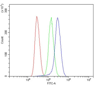 Flow cytometry testing of human Jurkat cells with Alpha 1 Catenin antibody at 1ug/million cells (blocked with goat sera); Red=cells alone, Green=isotype control, Blue= Alpha 1 Catenin antibody.