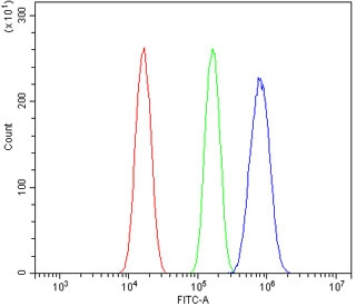 Flow cytometry testing of mouse Neuro-2a cells with Ah Receptor antibody at 1ug/million cells (blocked with goat sera); Red=cells alone, Green=isotype control, Blue= Ah Receptor antibody.