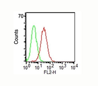 Surface flow cytometric analysis of CD34 on KG-1 cells using CD34 antibody (ICO-115, red) and isotype control antibody (green). The PPI-negative cell population was gated for analysis.